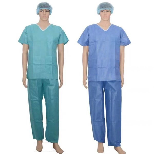 sms pp short sleeve V-neck tunic and pants patient clothes surgical gown